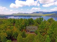 Aerial Of Large Adirondack Home With View Of Lake Placid & Mountains