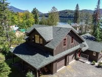 Aerial - Brown House With Red Trim Looking Out To Lake Placid