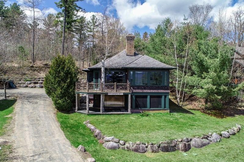 Exterior Of Brown Adirondack Home