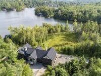Aerial Of Large Adirondack Home Looking Toward Lake Placid