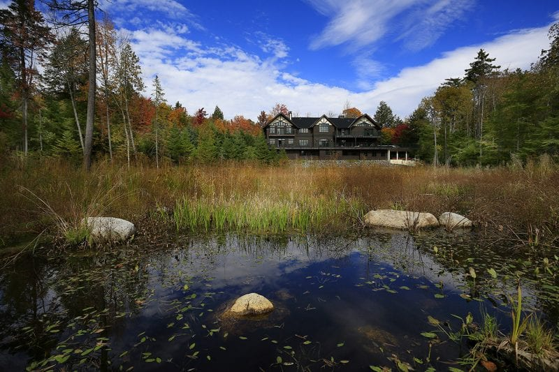 Exterior Of A Large Adirondack Home From Lake Placid