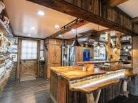 Kitchen With Wood Breakfast Bar