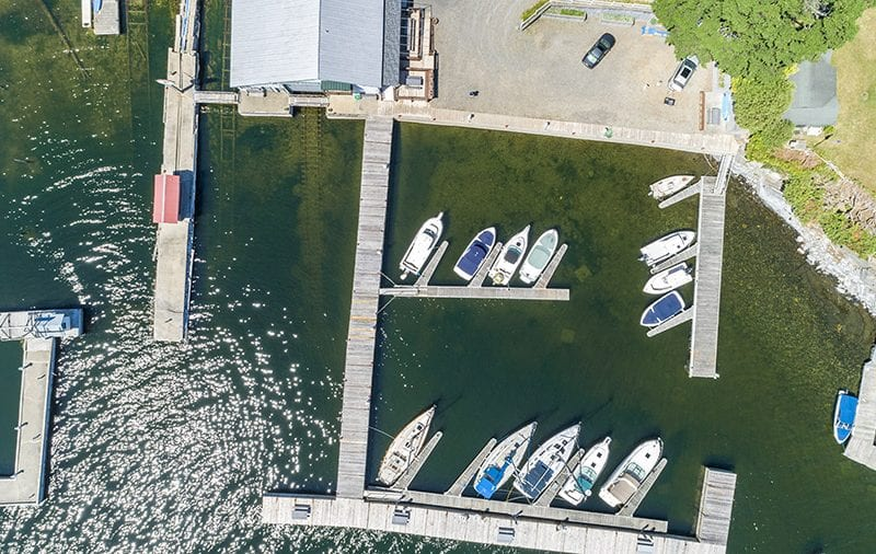 Aerial Above The Dock Area