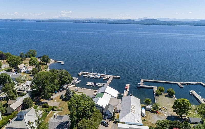 Aerial Of Marina From Roadside Looking Out To Lake Champlain