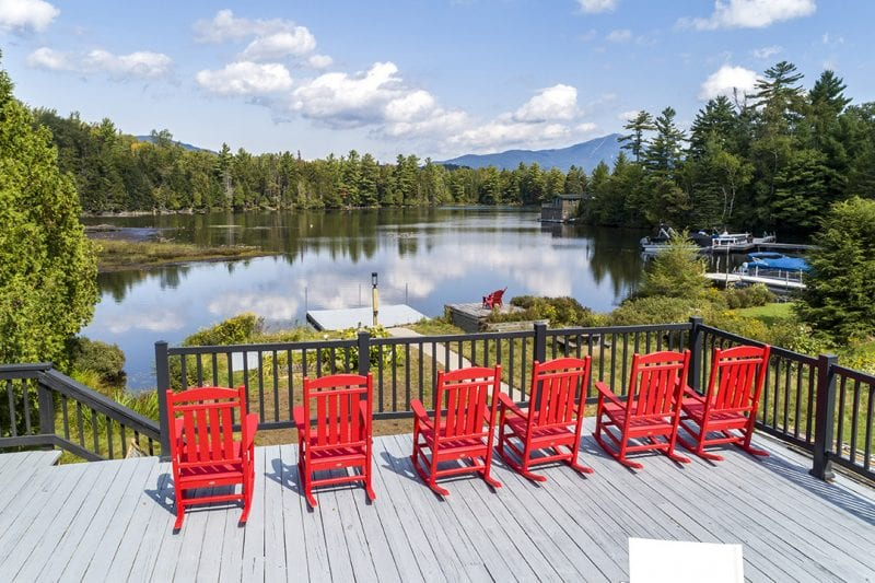 Red Adirondack Chairs Overlooking Lake Placid