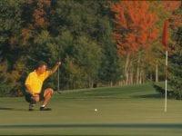 Golfer Lining A Putt
